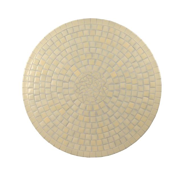 Table tops, Dining, Outdoor, ABACA, Table top : Cement, ceramic tile mozaic, round, cream , CERAMIC TILE , ROUND , CREAM , 120 dia x 3 cm ht