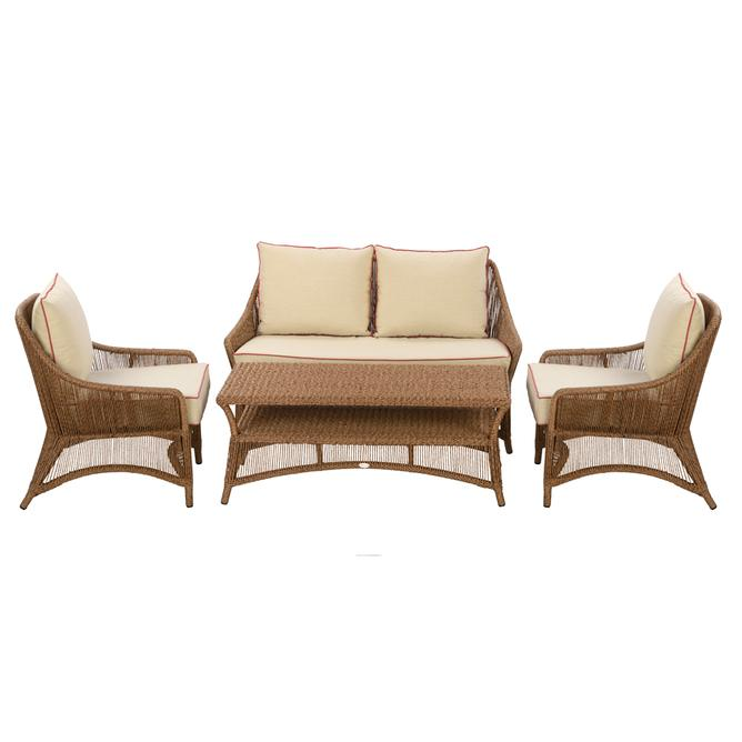 Sofa Sets, Seating and Lounge, Outdoor, ABACA, Shilo sofa set: Brown oak, 2 Seater ssofa + 2 Armchairs + coffee table