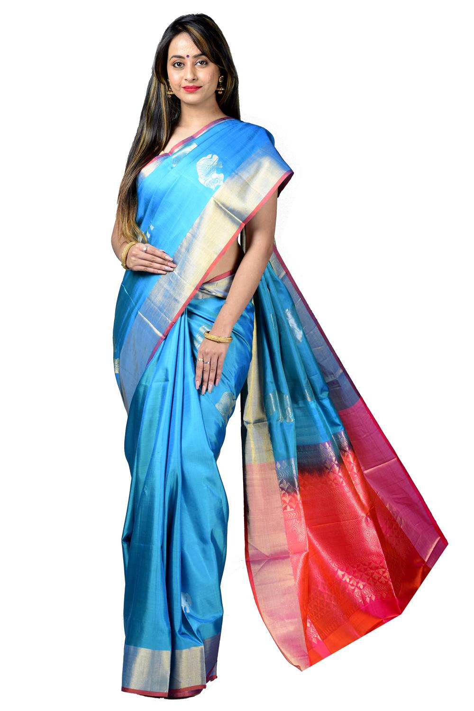 Kalakriti silk saree in blue color