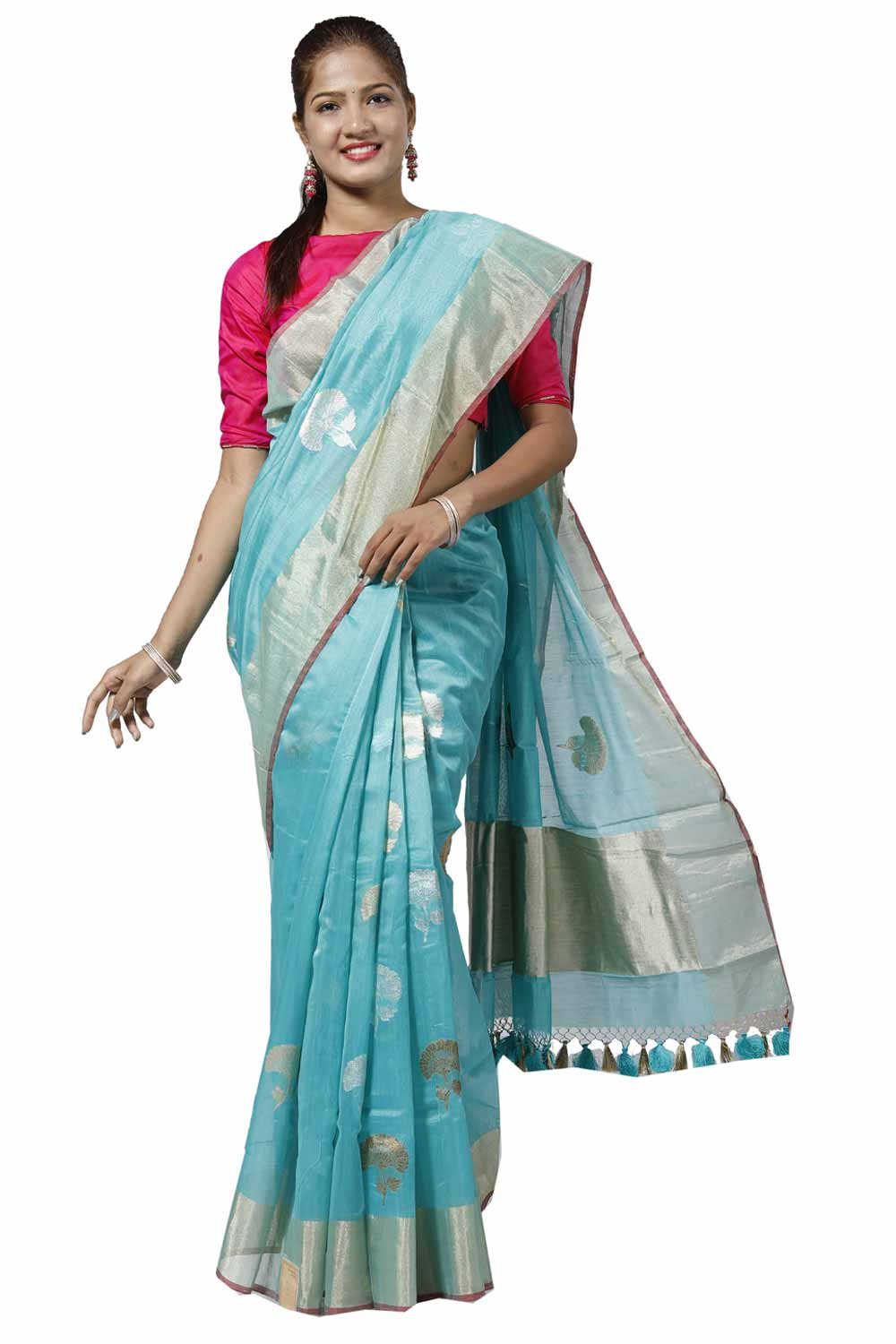 1fa5b62f9e Turquoise-Blue Fancy Chanderi Silk Saree