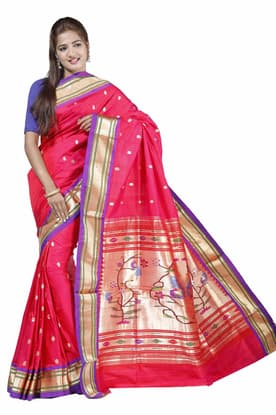 473343c253f22 Flamboyant pink Paithani Silk Saree with Meenakari Peacock Motifs  incredible Pallu PASA180010 has been added to your wishlist already exists  in your ...