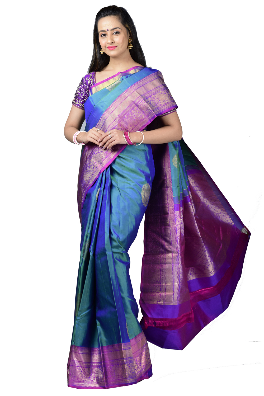 bfab3fcd7dccd Arni silk saree with peacock blur elephant-paisley motifs