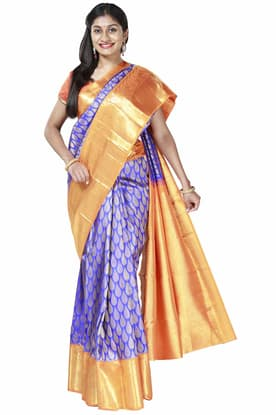 81e62f9d4c Royal-blue Kanchipattu Saree with Orange Border KCSA180244 has been added  to your wishlist already exists in your wishlist