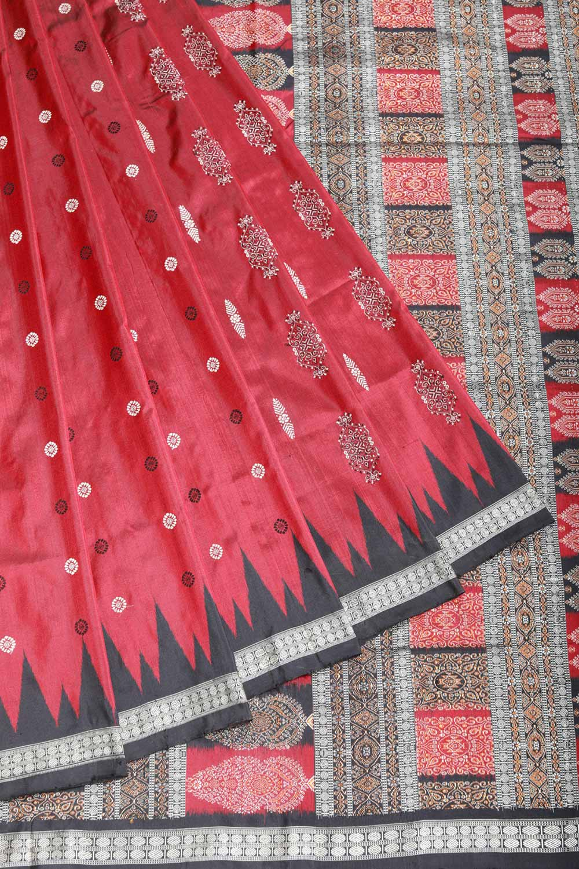 4e8f407d67 Sambalpuri silkk saree in earthy maroon with woven border and pallu
