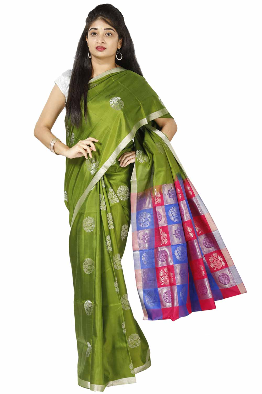 a90de64b48 Leaf-Green Light Weight Silk Saree