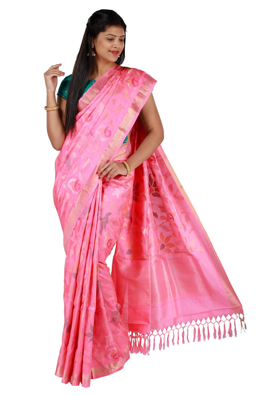 1cb2dfcff8 Uppada silk saree in sandy pink with jamdhani floral jaal design