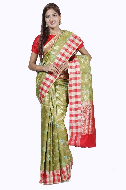 dc4a9ab0e1 Olive-Green Banarasi Tussar Silk Saree with Sandy-red Beige Checks Pattern  Border BASA180094