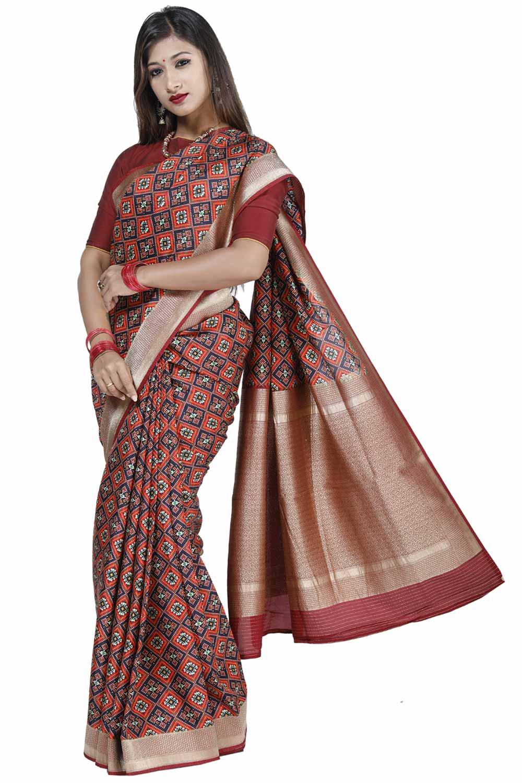 90b87c7c473 Red-Black Printed Silk Saree adorn with Ethnic Design