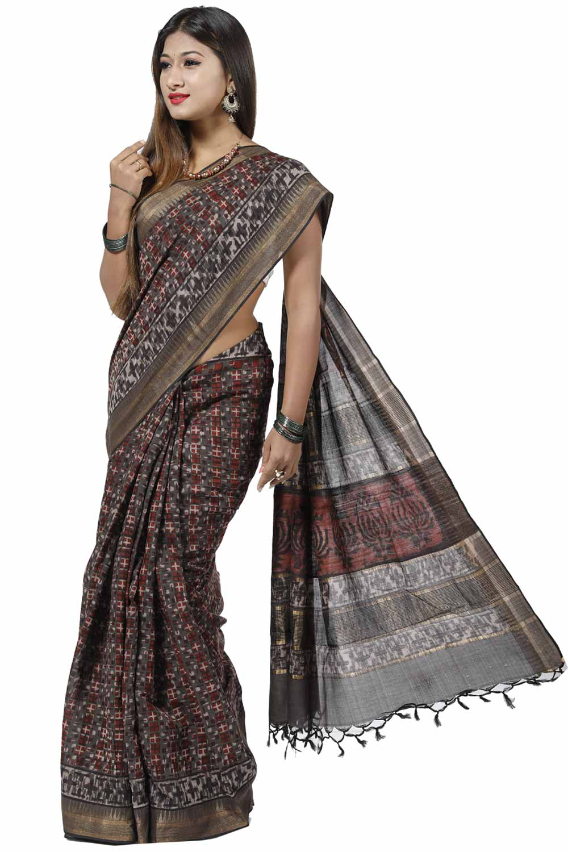 4ca407333c4 Slate-Grey Maheshwari-Chanderi Saree Adorn with Geometrical Printed