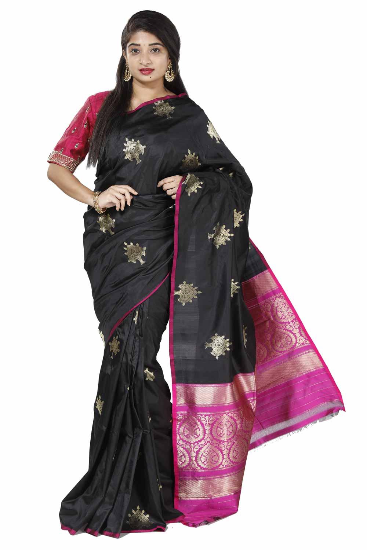 af1ab41d2 Black Banarasi Katan Silk Saree with Magenta-Pink Brocade Pallu BASA180128