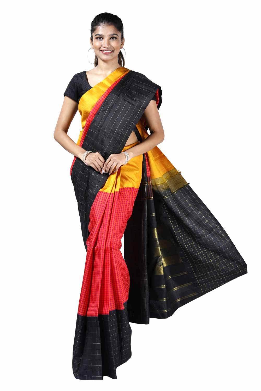 54628d932b Magenta-Orange Arni-Pattu Silk Saree with Yellow-Black Border