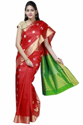 e71d5afc8a Cherry-Red Light Weight Silk Saree with vibrant-green pallu SPSA180097 has  been added to your wishlist already exists in your wishlist