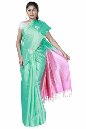 65a20f1b5c Mint-Green Light Weight Silk Saree with Sandy-Pink Pallu SPSA180093 has  been added to your wishlist already exists in your wishlist