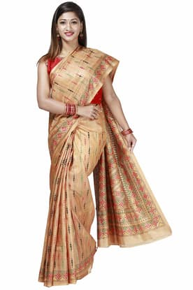 2543935c40 Classic Mild-Brown Tussar Silk Saree with Kantha Embroidery Work FCSA180129  has been added to your wishlist already exists in your wishlist