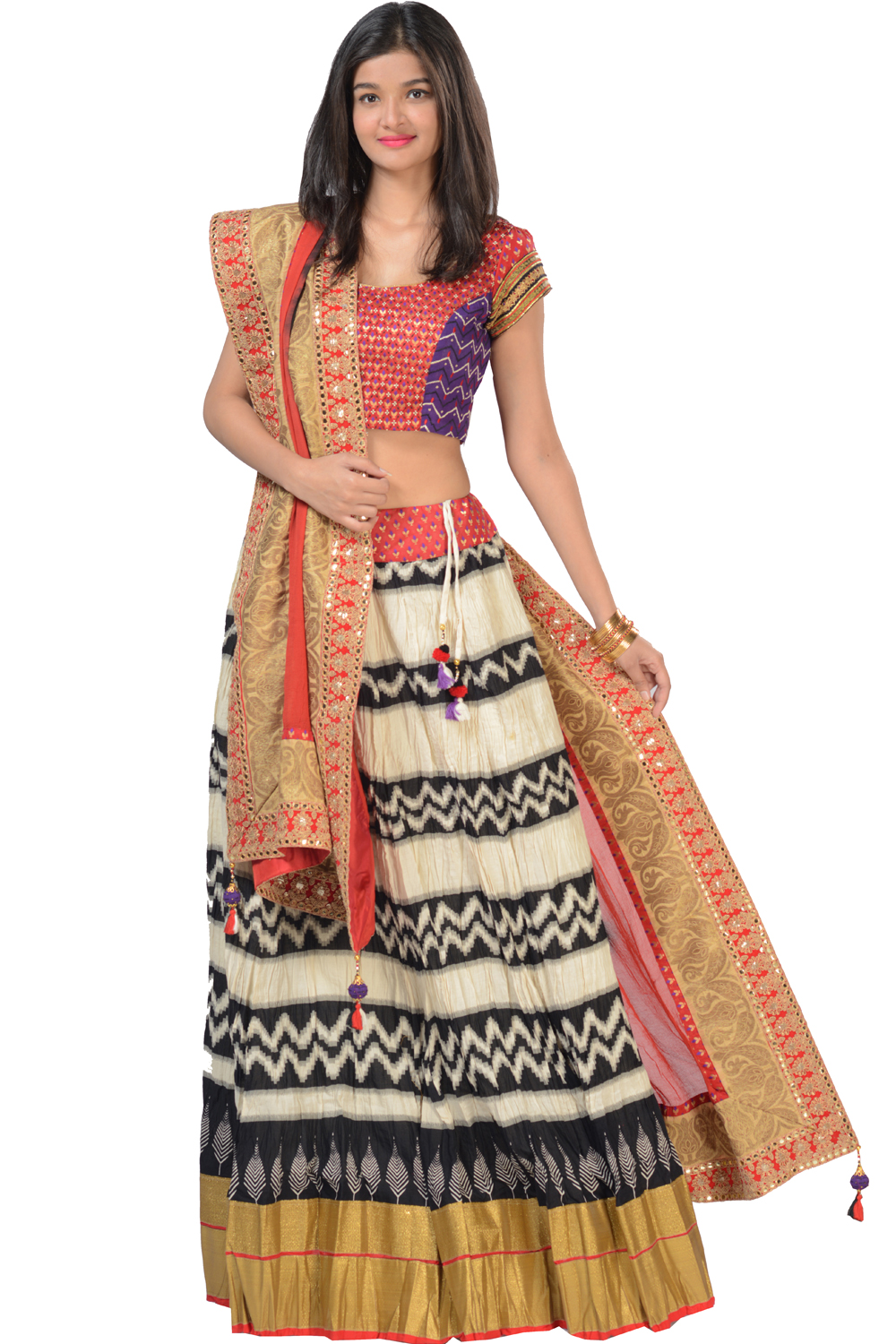 f804cd3502e9d3 Celebrations, Ghagra choli dupatta set with stylish crushed cotton ghagra  (F15HFMTJHS102)