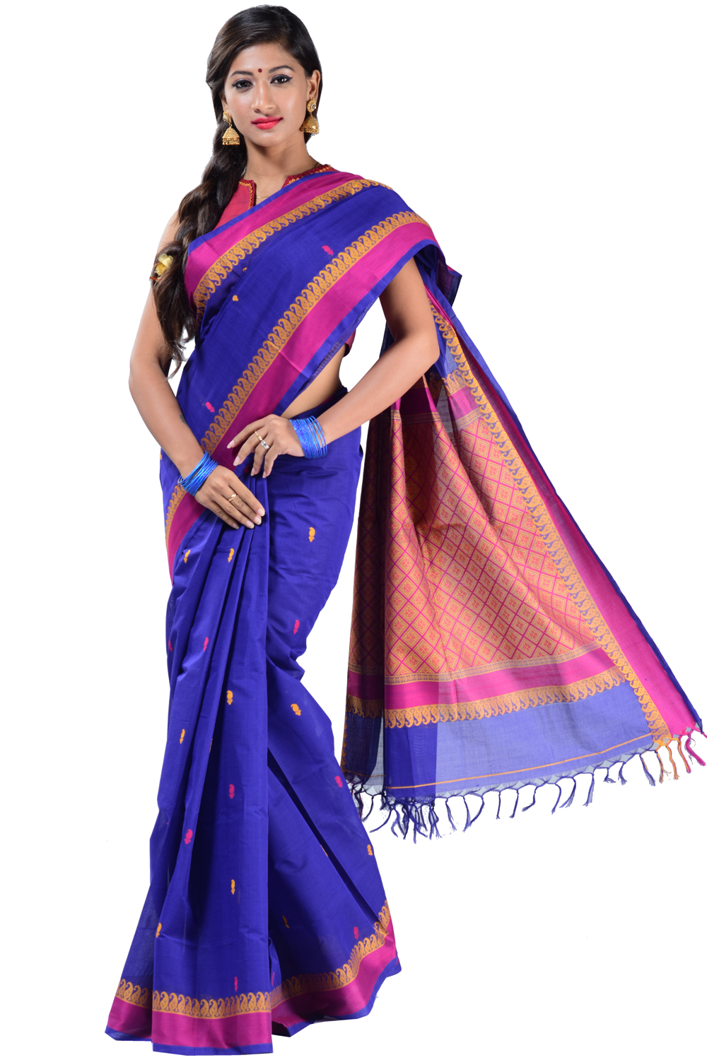 Cotton saree in violet handloom with traditional mango motifs