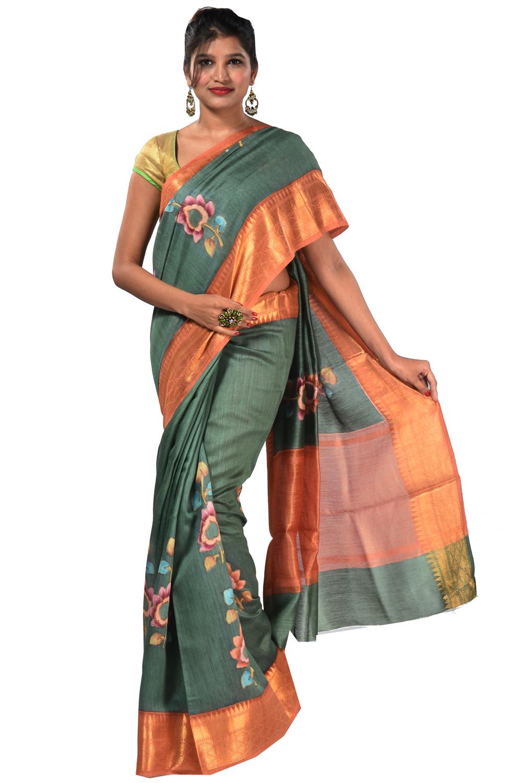 Tussar silk saree in coral green fancy handloom