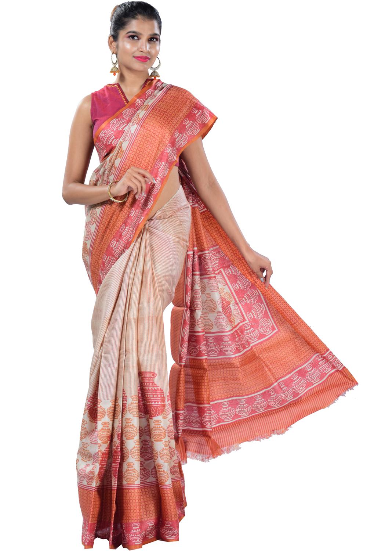 140148e760 Beige tussar silk saree with digital printed in pot motifs