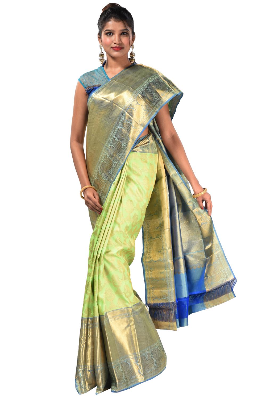 6bcbcaff845 Kanjivaram silk saree with neon-green peacock-jumka motifs