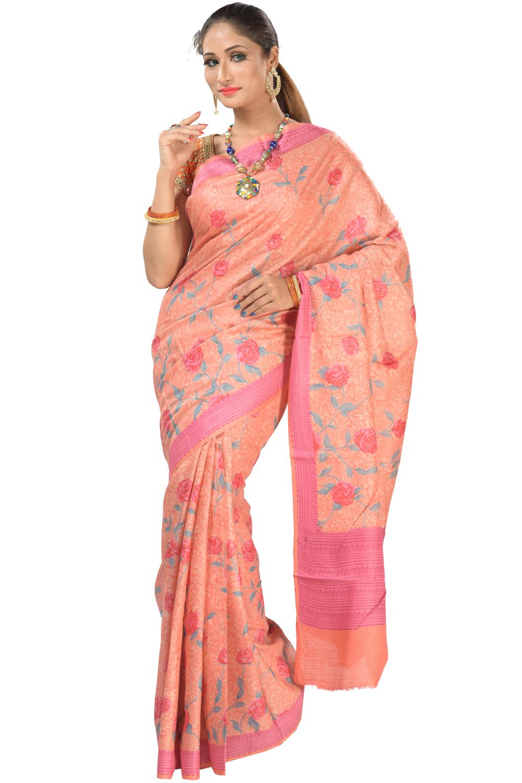 cc1a5600375 printed silk saree sweet peach color tussar saree kalanjali