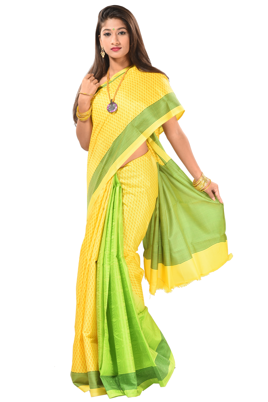 d8b84e3c8f4 Printed saree with glossy yellow half-half style silk