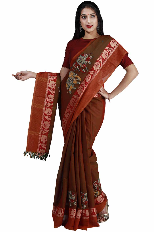 Heena green handloom cotton saree with kalamkari patch work