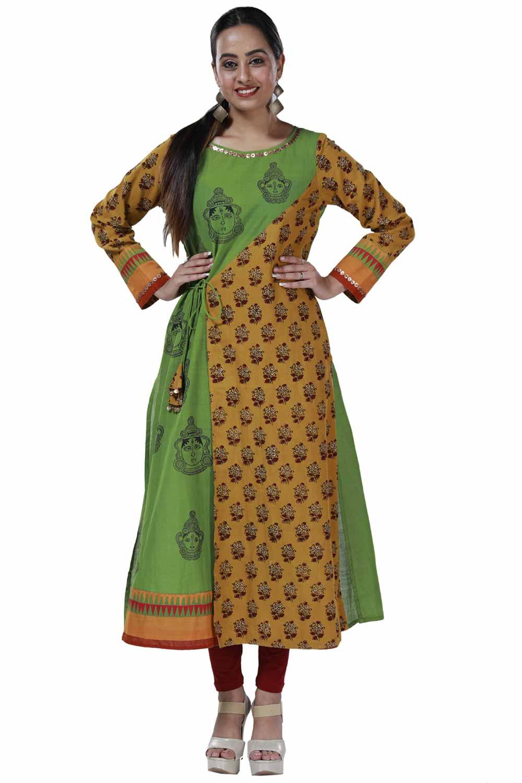 Angrakha styles kurti in handloom fabric