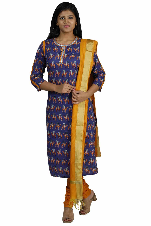 020a77e1c3 Kathputli, Mulmul Cotton Churidar Suit with Embroidery Work - Set of 3