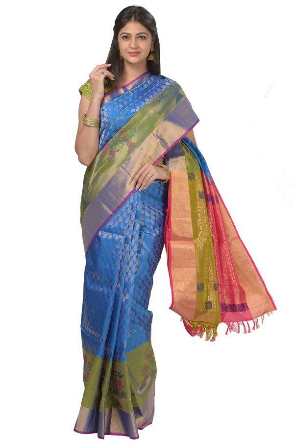 a387b466d215f5 Pattu saree - blue shade lite weight party wear silk saree