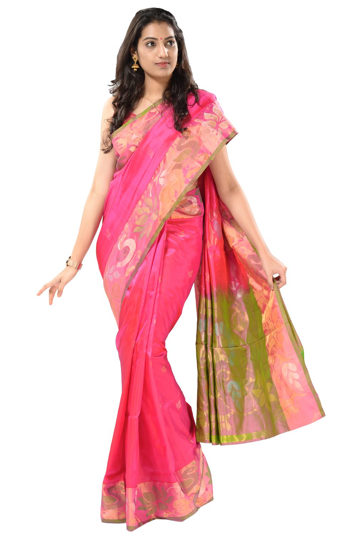 a0d7aeb99f Uppada silk saree in rani pink with gold-silver leaf motifs