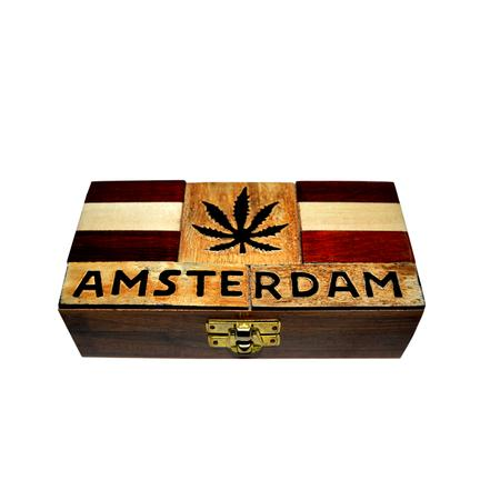 SECRETE STASH BOX, SMOKING ACCESSORIES, OTHERS, Little Goa, Amsterdam With Leaf Wooden Rolling Box