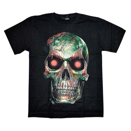 TSHIRT, RASTA STUFF, OTHERS, Little Goa, Big Eyes Skull Design 3D UV Light Black T-Shirt