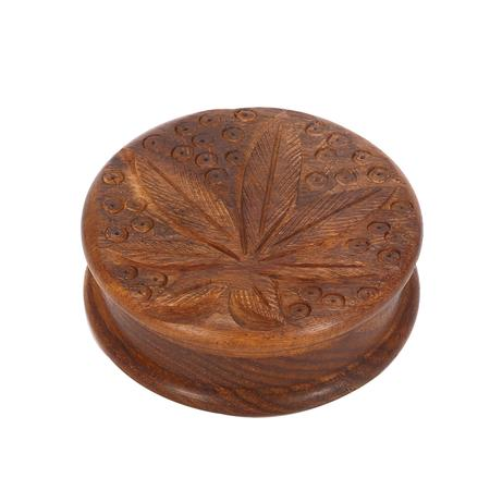 Cannabis Leaf Design Wooden Two Part Herb Grinder-