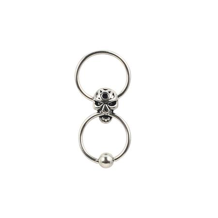Double Rings Skull Metal Hoop Body Piercing-25 mm