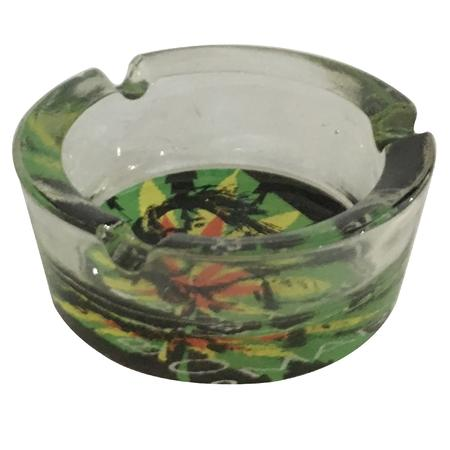ASH TRAY, SMOKING ACCESSORIES, OTHERS, Little Goa, Face Leaf Bob Marley Glass Ash Tray-2.5 Inch