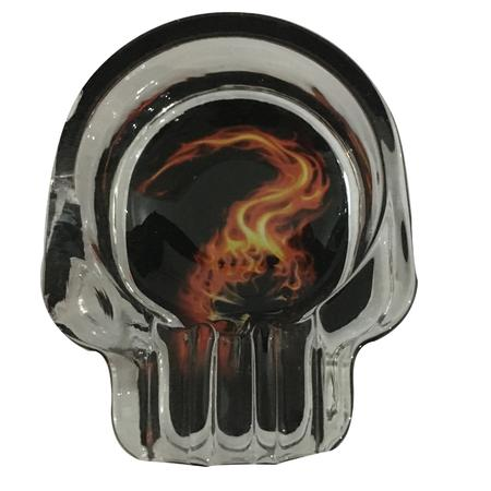 ASH TRAY, SMOKING ACCESSORIES, OTHERS, Little Goa, Fire Design Glass Ash Tray-3.5 Inch