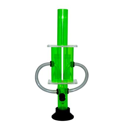 12 INCH ACRYLIC BONG, ACRYLIC BONG, BONGS, Little Goa, Green Color Double Side Acrylic Bong-12 Inch