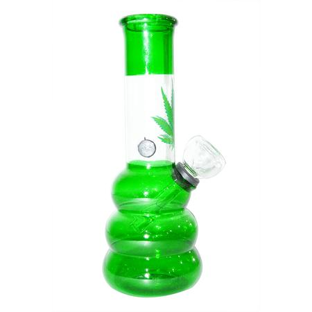 6 INCH GLASS BONGS, GLASS BONG, BONGS, Little Goa, Green Color Three Bowl Leaf Design Glass Bong-6 Inch