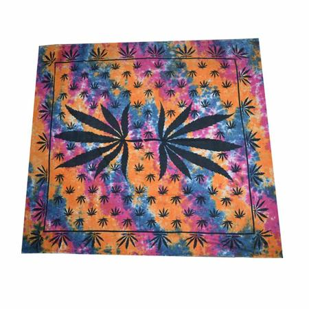 BED SHEET, RASTA STUFF, OTHERS, Little Goa, Multi Color Leaf Design Cotton Double Bed Sheet