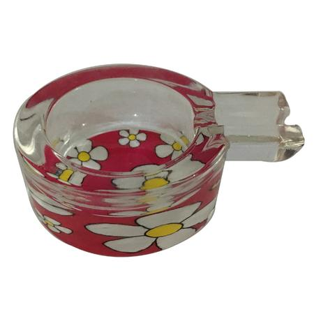 ASH TRAY, SMOKING ACCESSORIES, OTHERS, Little Goa, Pink Flower Glass Ash Tray-3 Inch