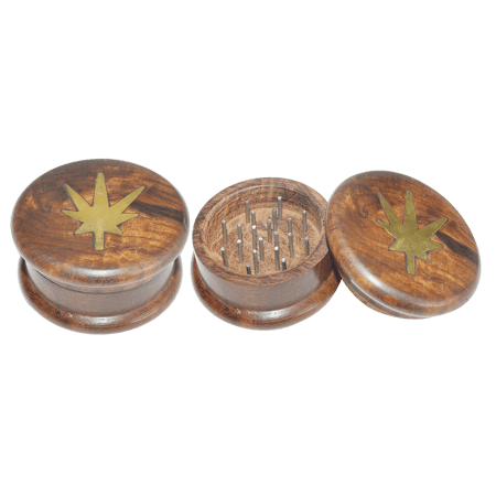 WOODEN GRINDER, HERB GRINDER, Little Goa, Plain Leaf Design Two Part Wooden Herb Grinder-50 mm