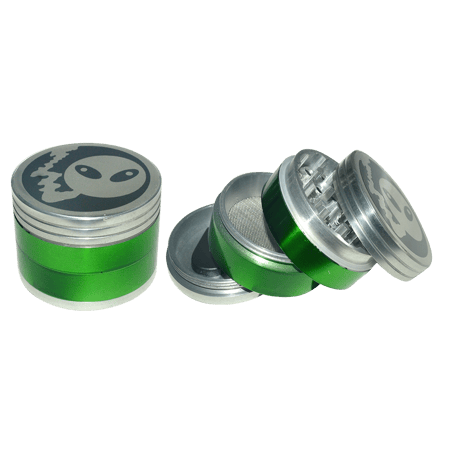 METAL GRINDER, HERB GRINDER, Little Goa, Green Color 4 Part Alien Design Metal Herb Grinder- 50 mm
