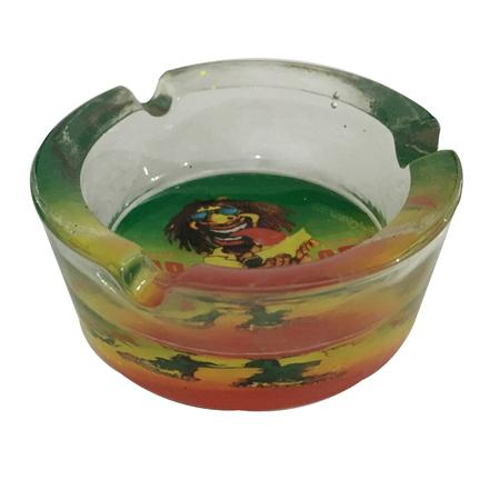 ASH TRAY, SMOKING ACCESSORIES, OTHERS, Little Goa, Rasta Man Round Glass Ash Tray-2.5 Inch