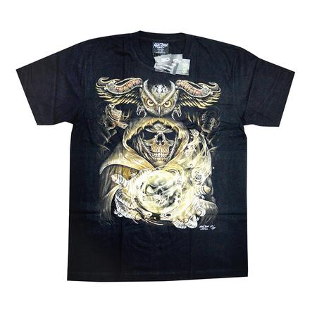 TSHIRT, RASTA STUFF, OTHERS, Little Goa, Skull With Owl 3D UV Light Black T-Shirt