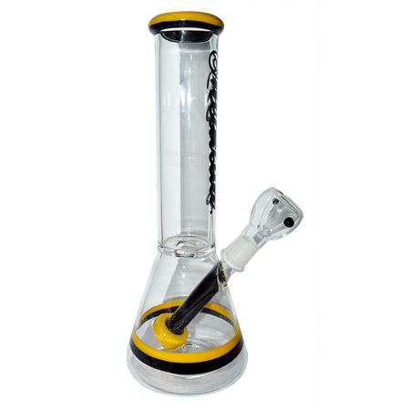 12 INCH GLASS BONGS, GLASS BONG, BONGS, Little Goa, Yellow Color Conical Shape With Sticker Design Glass Bong-12 Inch