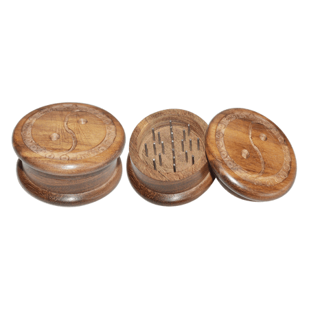 WOODEN GRINDER, HERB GRINDER, Little Goa, Ying Yang Carving Two Part Wooden Herb Grinder-50 mm