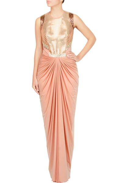 Gowns, Clothing, Carma, Faux metal embellished  jersey gown ,
