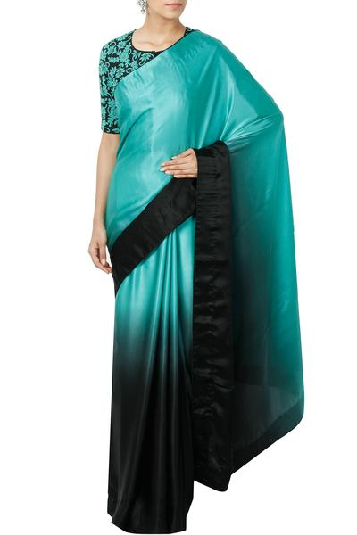 Sarees, Sarees, Clothing, Carma, Sea Green And Black Shaded Saree With Embroidered Blouse ,  ,