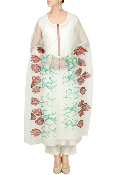 Suits, Clothing, Carma, Ivory kurta set with tulips appliqued dupatta ,  ,