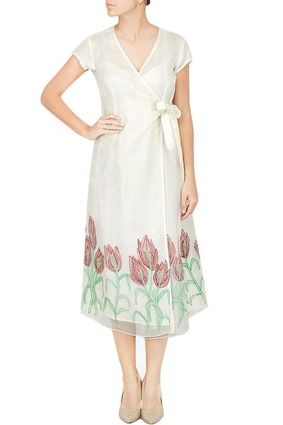Dresses, Clothing, Carma, Ivory tulip flowers appliqued wrap dress ,